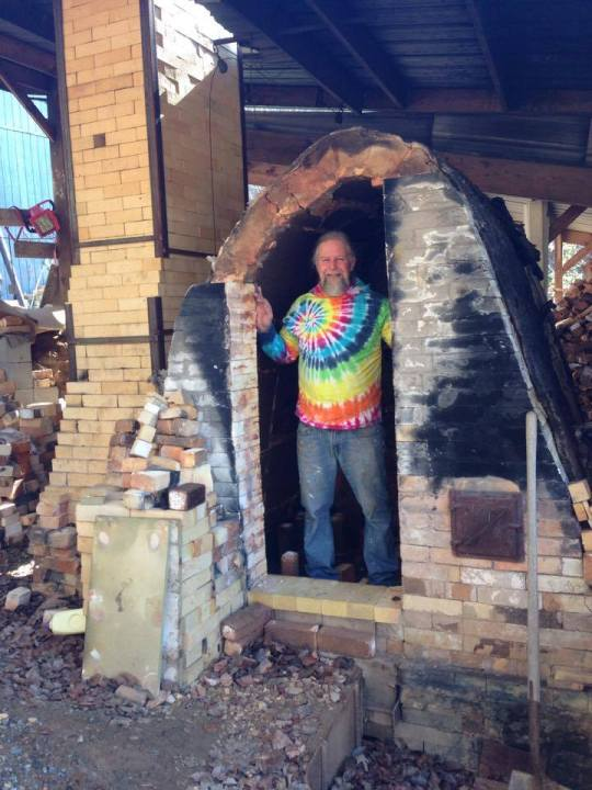 Rob in the wood kiln. Photo by Jill Tortorella.